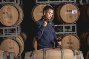 Tasting wine straight out of the barrel - food photography by BrandCraft Marketing