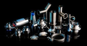 Chrome plumbing parts - product photography