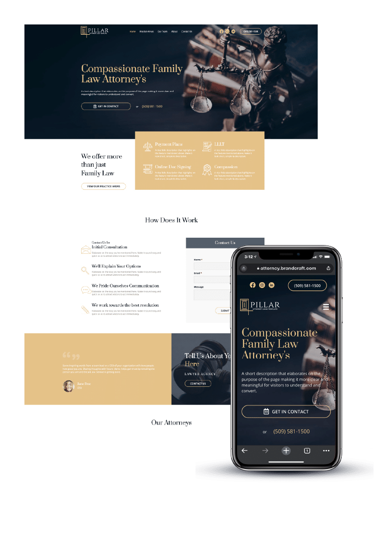 Law firm example website on desktop and mobile