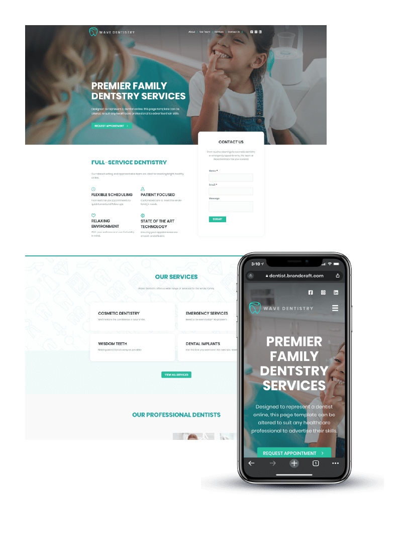Dentistry example website on desktop and mobile