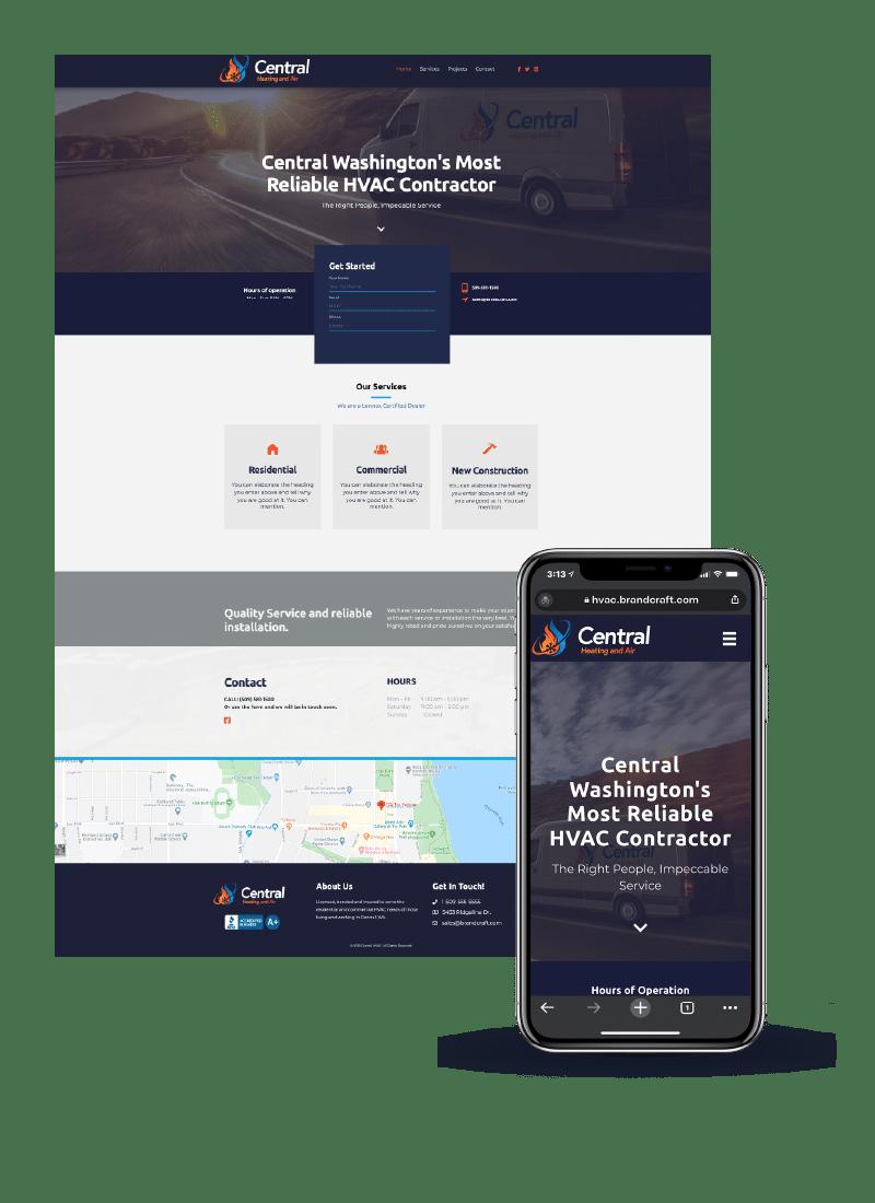HVAC example website on desktop and mobile