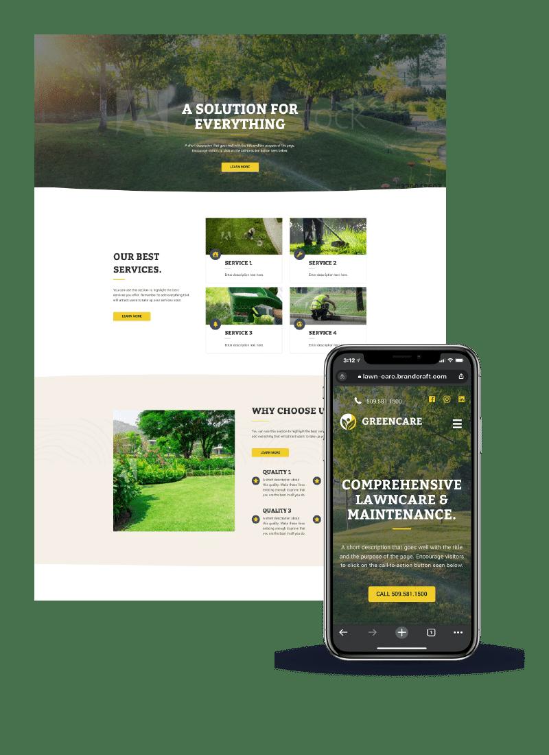 Landscaper's example website on desktop and mobile