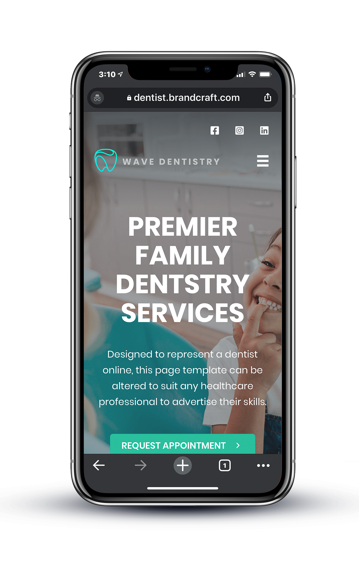 Example of dentistry website on mobile