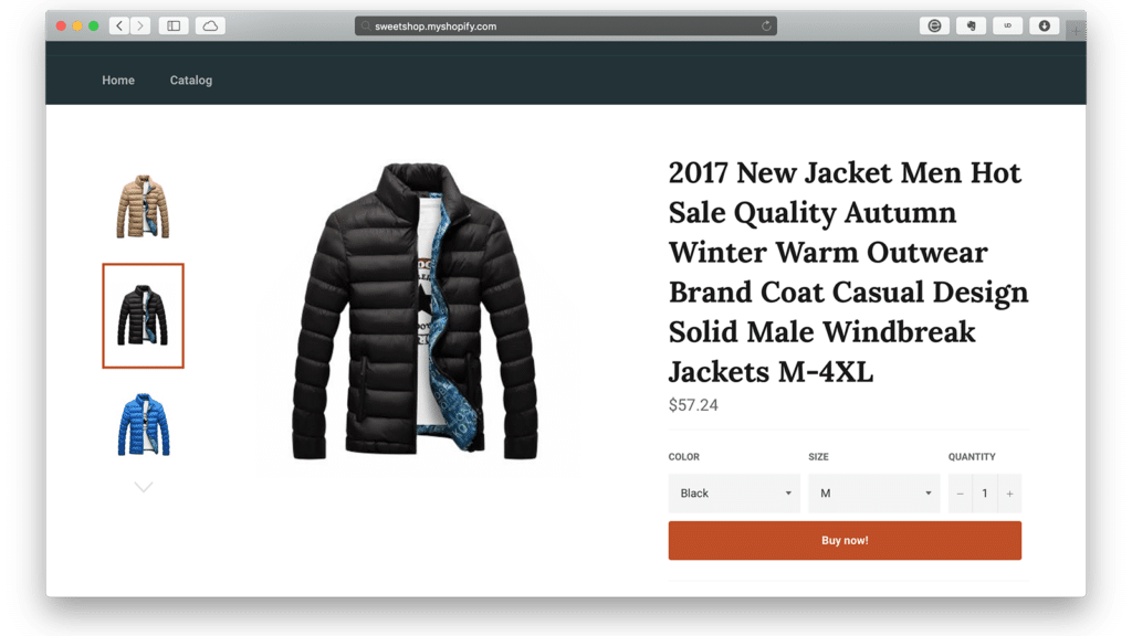 Shopify dynamic checkout buttons with 1-click sale option