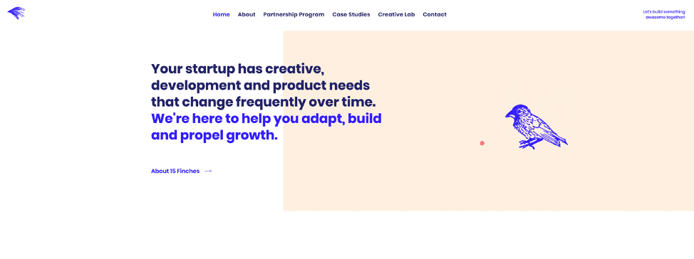 Example of a website that shows asymmetry with text heavy on the left side and image on the right side