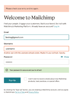 Mailchip website example showing microcopy