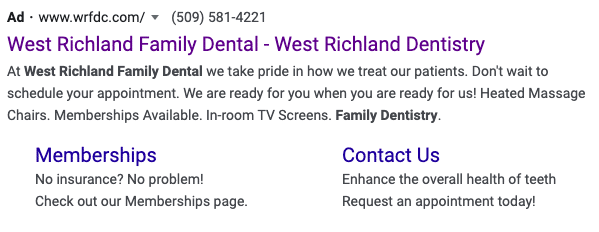 Example of a BrandCraft dental client utilizing Google Search Ads for their company.