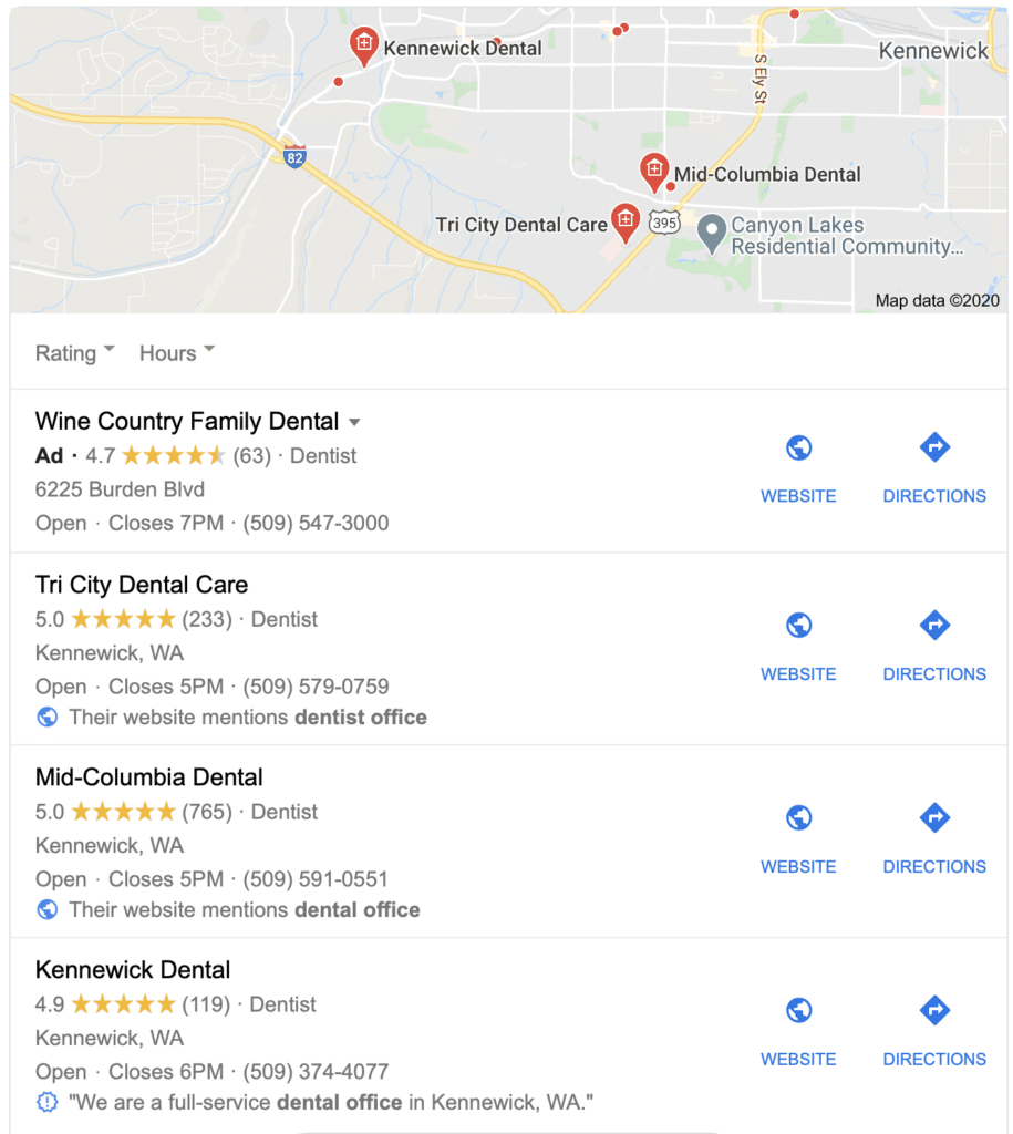 Local Google Search Results for Tri-Cities, WA dentists