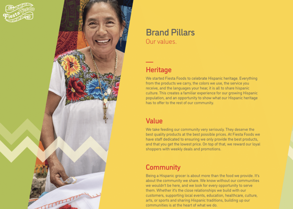Example of the brand pillar's for BrandCraft's client Fiesta Foods. Telling their story through branding