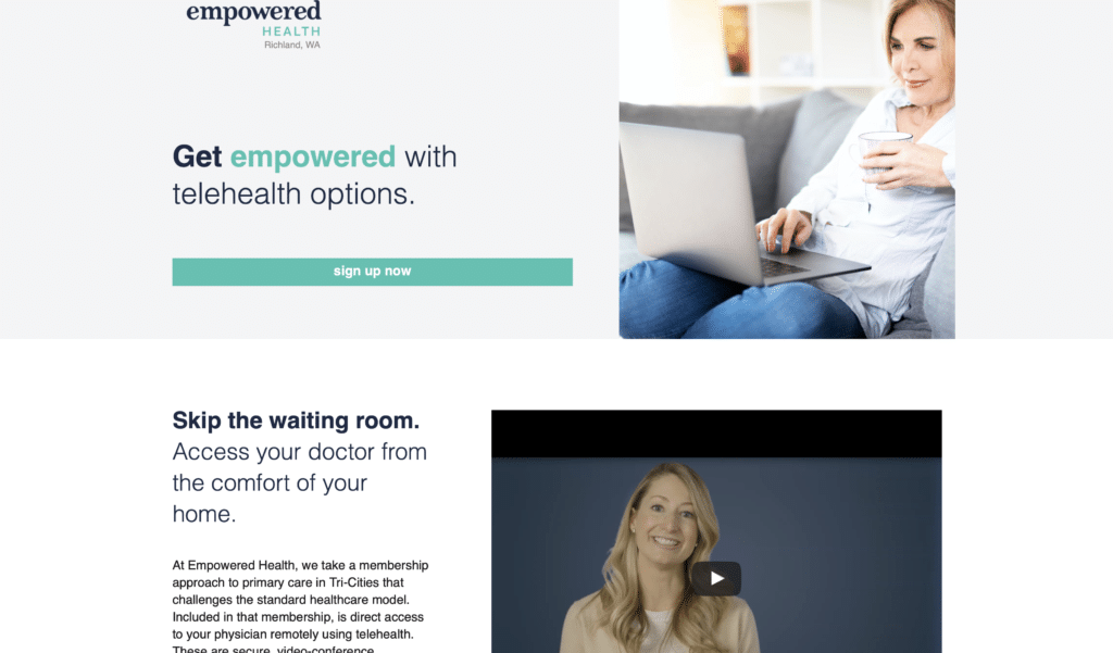 BrandCraft's client Empowered Health's landing page about Telehealth options