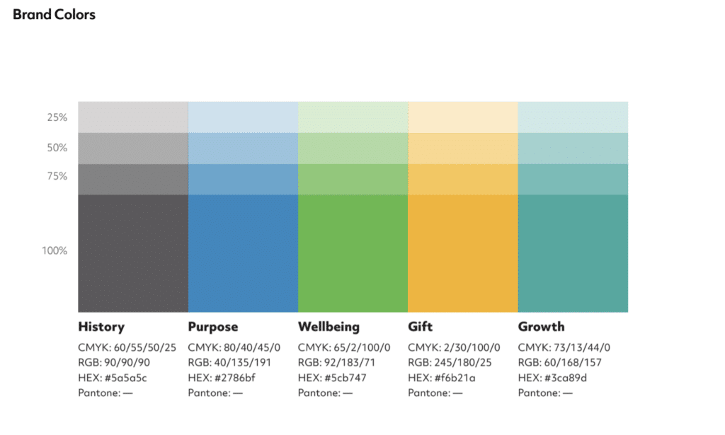 Example of BrandCraft's client brand colors within their identity guide