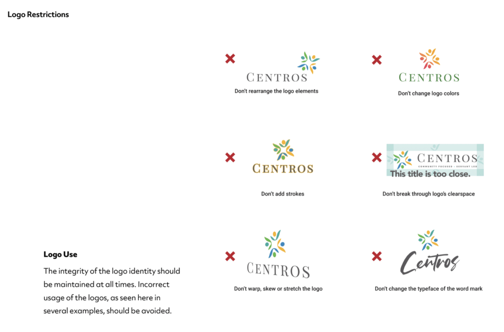 Example of BrandCraft's client logo restrictions found within their identity guide