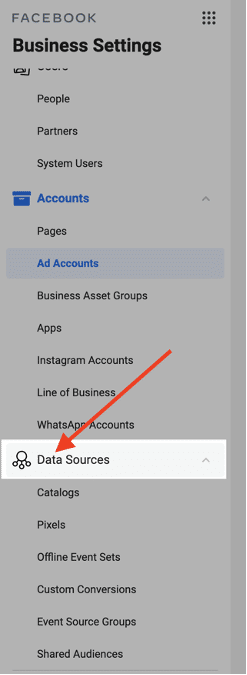Step two- locate and click on data sources on the left side menu.