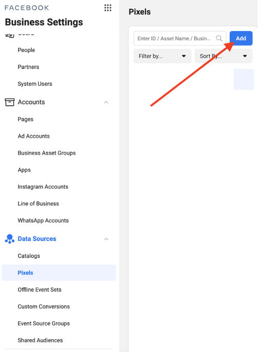 Step three- add data source under pixel