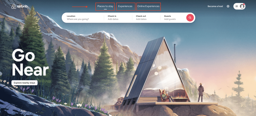 Example of Airbnb's website content on their homepage