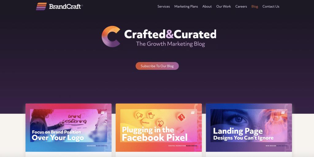 BrandCraft's blog homepage website content example