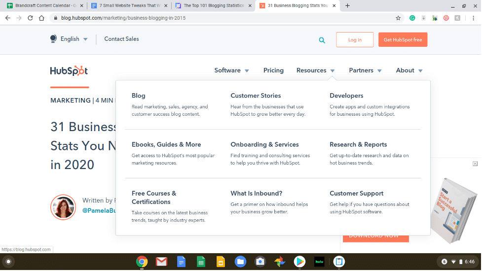HubSpot example of including many different resources at the bottom of their website for more conversion