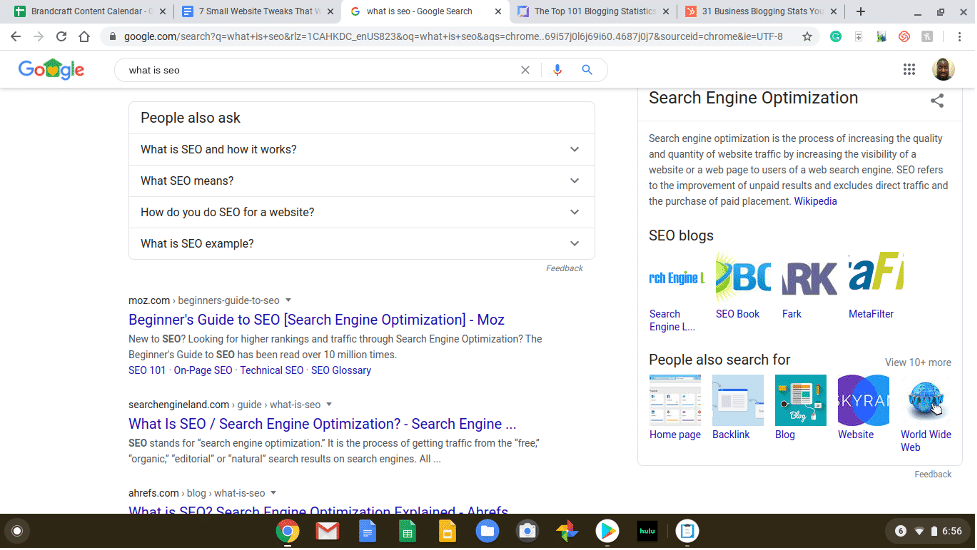 example of searching in Google