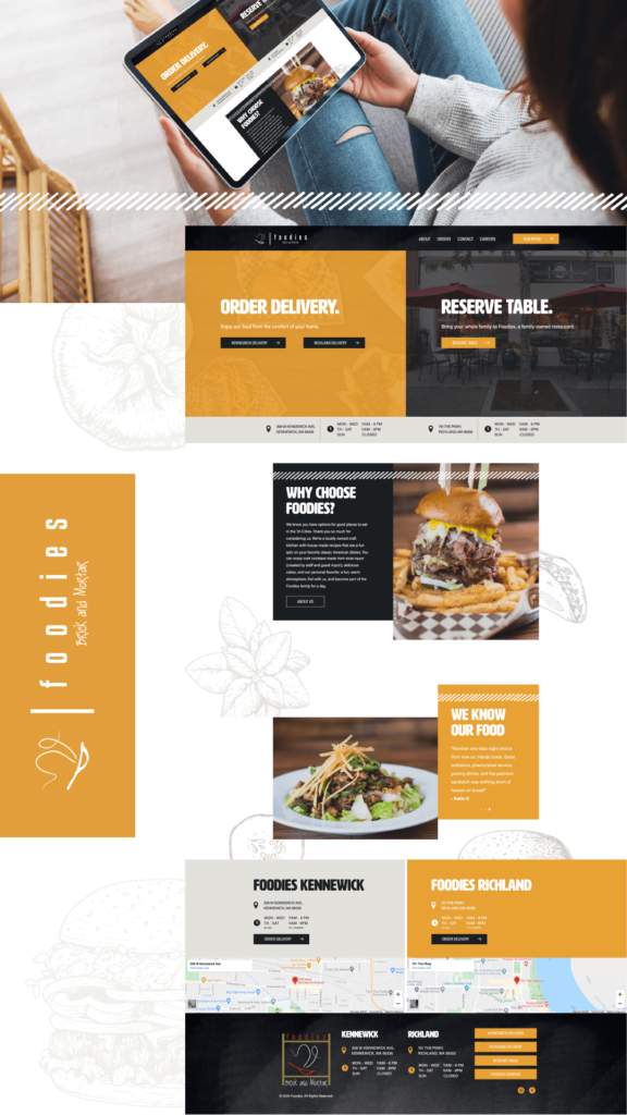 layout of the Foodies website design and development created by BrandCraft