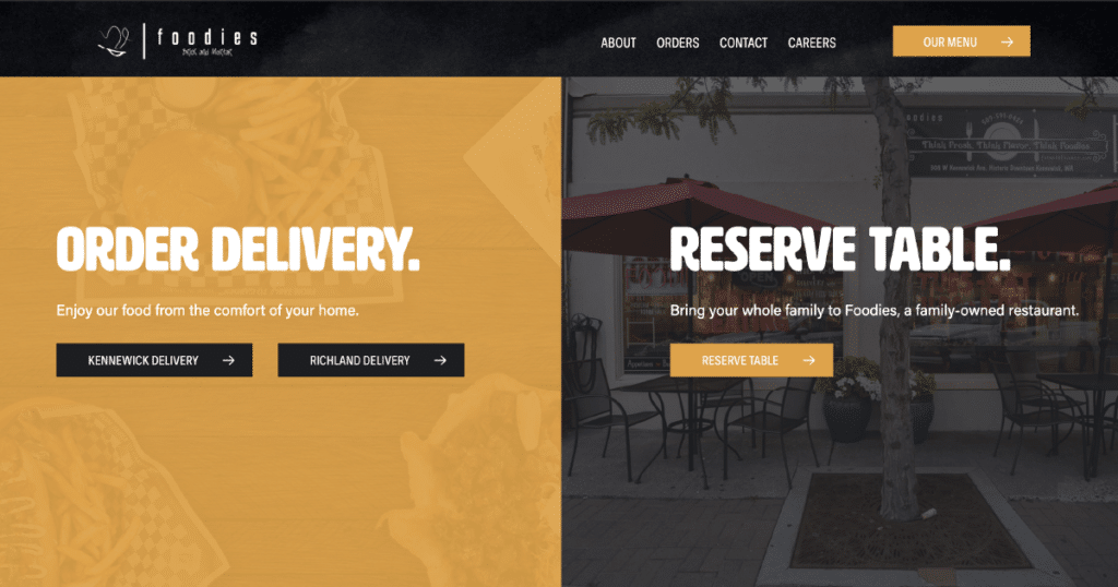 Foodies website function showcasing two forms. One form is for order delivery and the second for table reservations.
