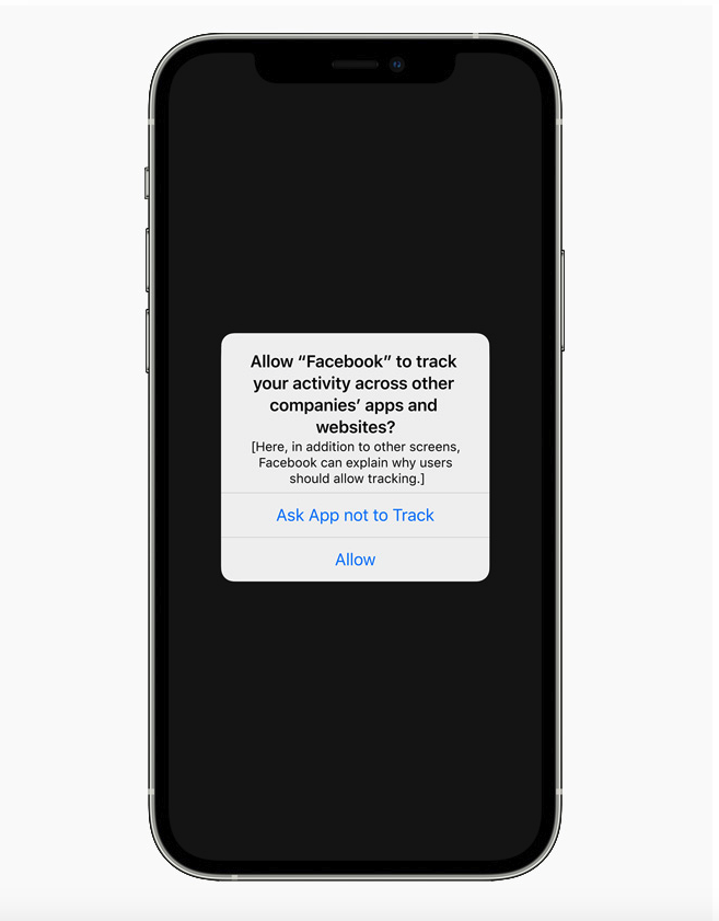 an example of the actual apple iOS 14 update notification apps will have to show