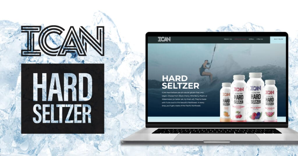 showcasing ICAN Hard Seltzer homepage in a laptop screen