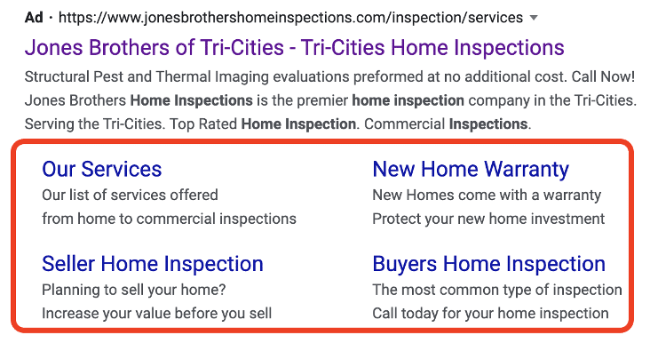 example of a site link extension on Google Ads