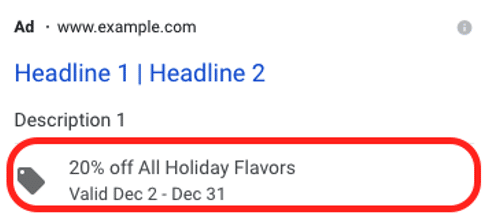 example of a promotion extension ad displayed on Google Ads