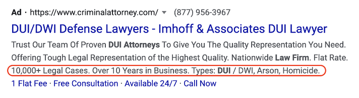 example of callout extension on a Google Ads