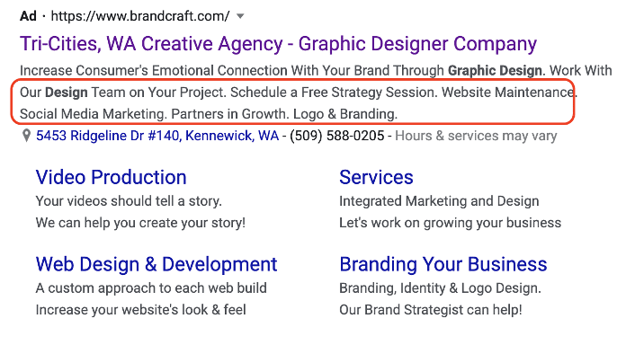 example of a structured snippet extension on Google Ads