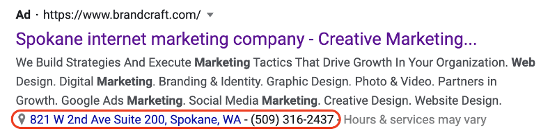 example of a location extension displayed on Google Ads