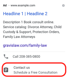 example of a lead form extension displayed on a Google Ads