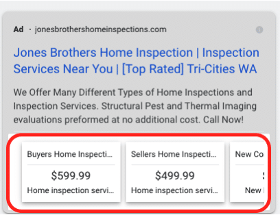 example of a price extension ad displayed on Google Ads