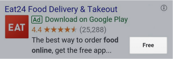 example of an app extension ad displayed on Google Ads