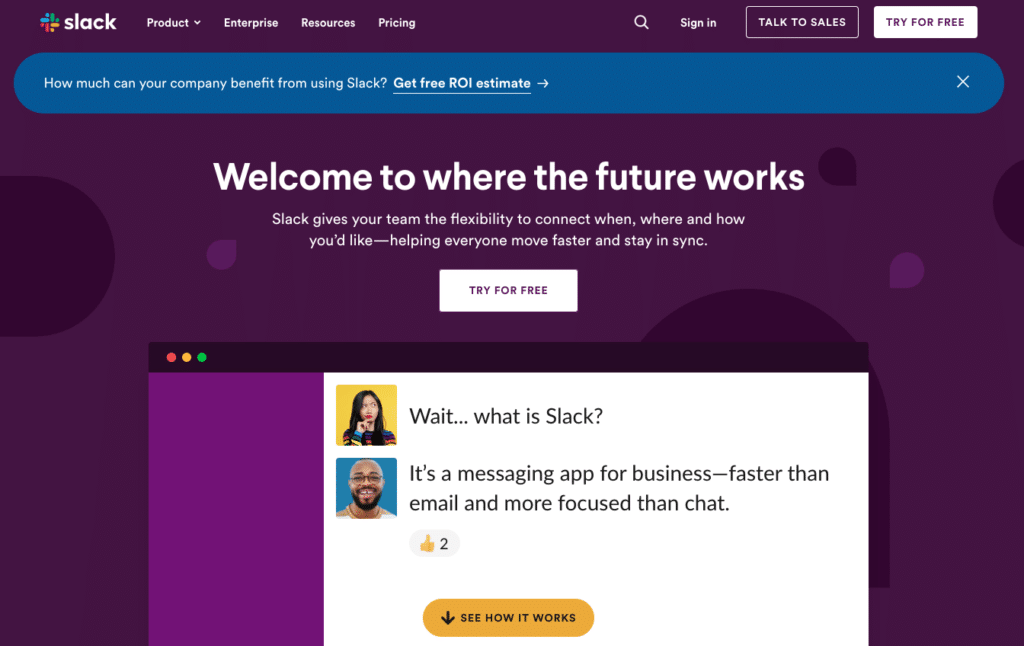 example of website CTAs on Slack's homepage