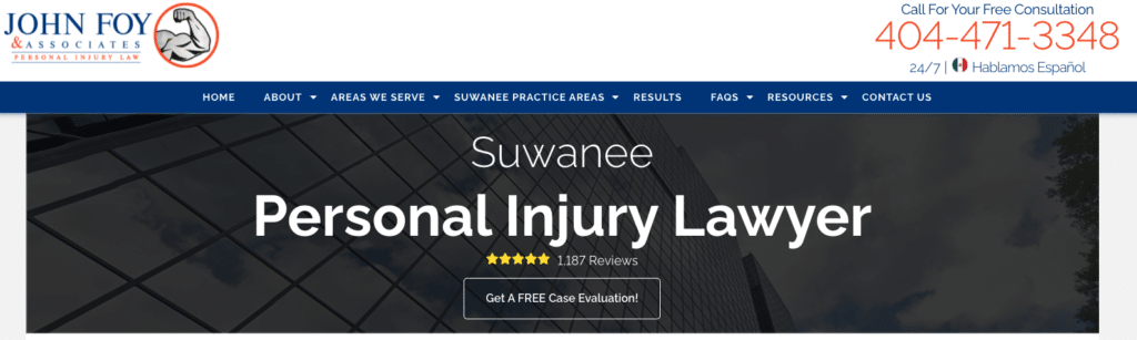 example of website CTAs on a personal injury law firm's homepage