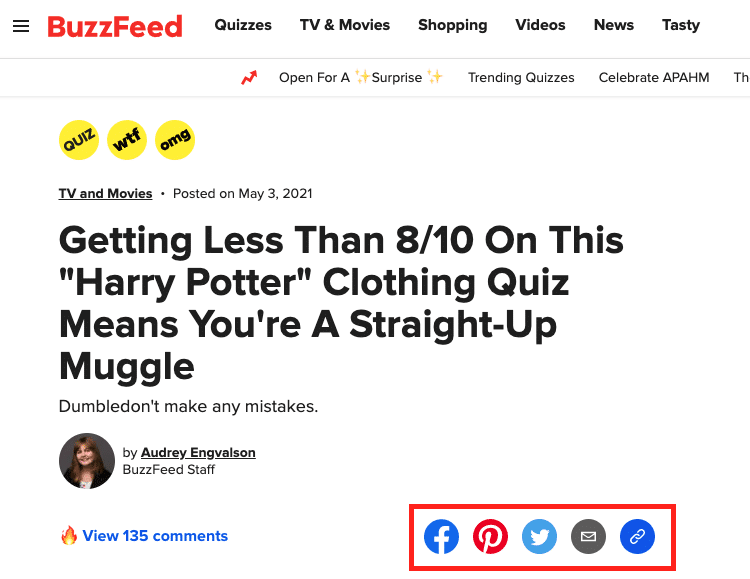 example of website CTAs on BuzzFeed's homepage