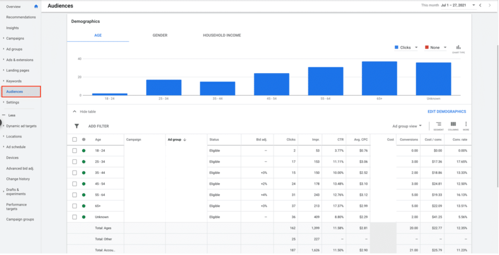 Example of the Google Ads demographics tab not showing up on dashboard