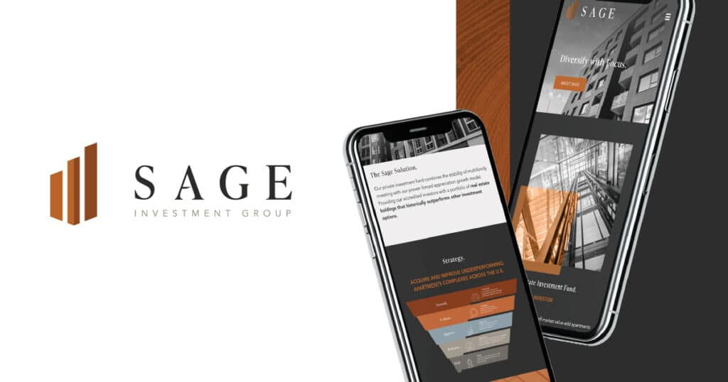 sage investment group banner with logo and  mobile website design