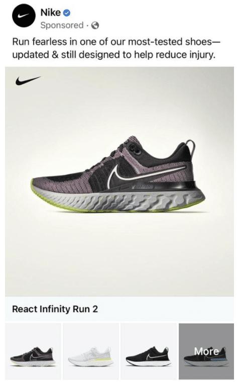 Nike Facebook Feed Social Media Ad Example