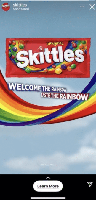 example of a instagram story social media ad promoting Skittles
