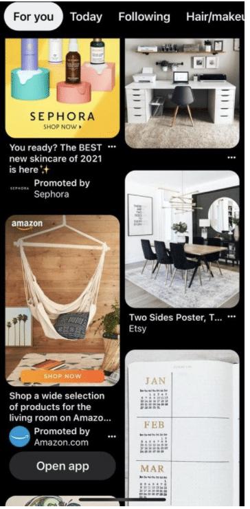 Pinterest social media ad promoting sephora and amazon