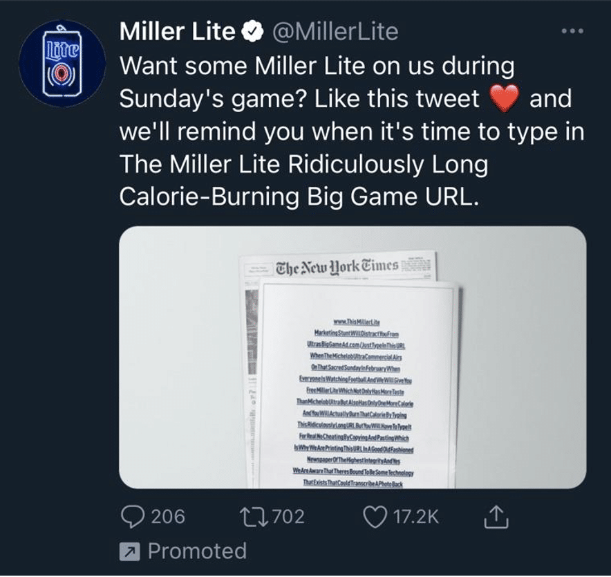 example of a twitter social media ad