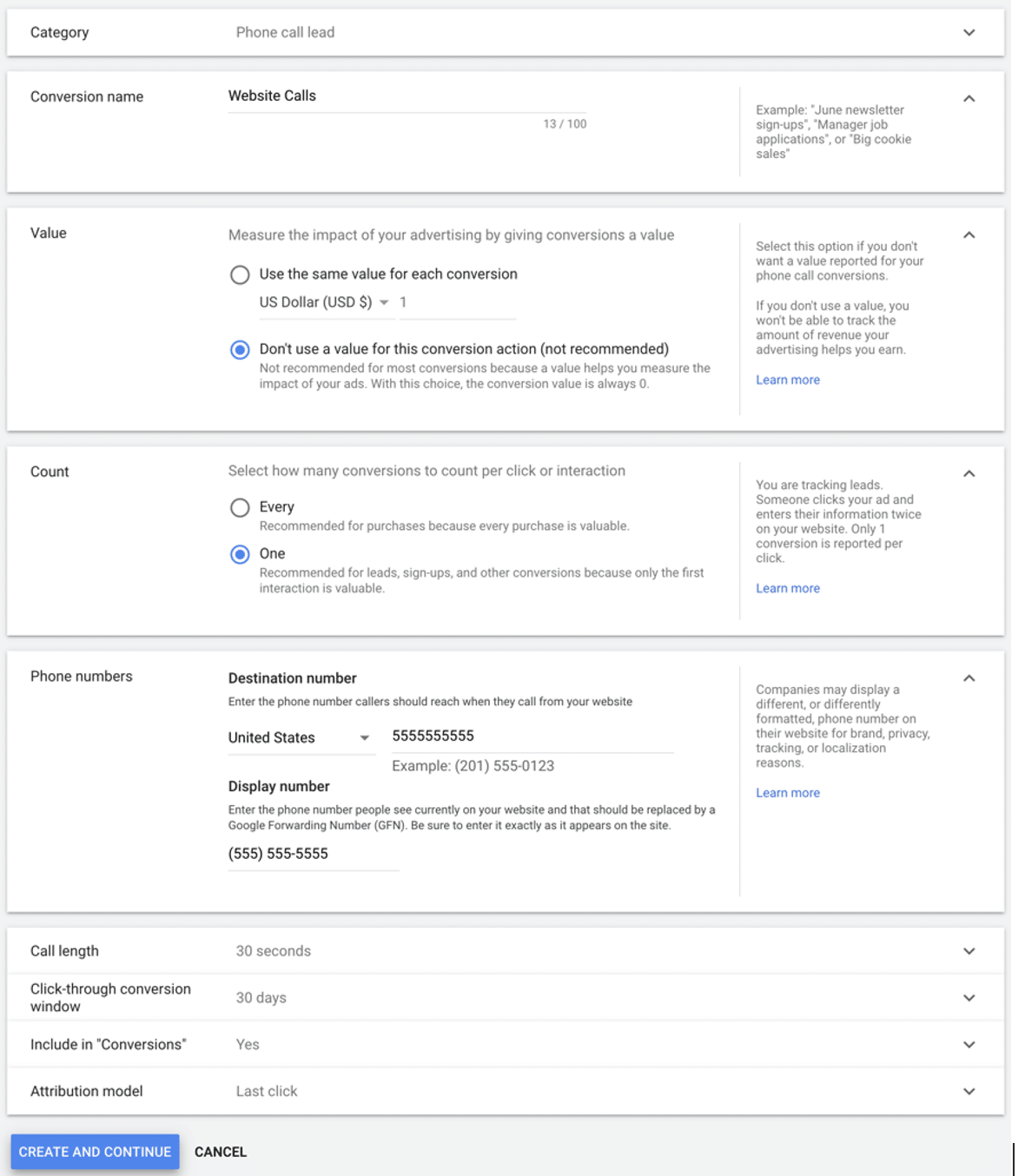 example of editing trigger events on your Google ad account