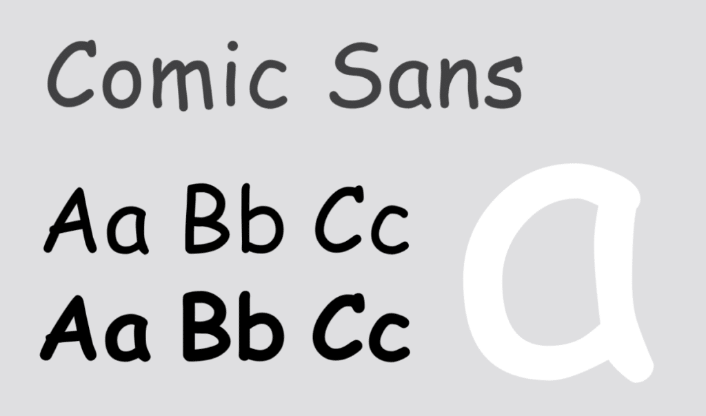 example of the comic sans font that our branding agency suggests avoiding