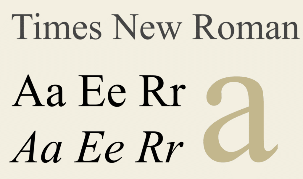 example of the Times New Roman font that our branding agency suggests avoiding