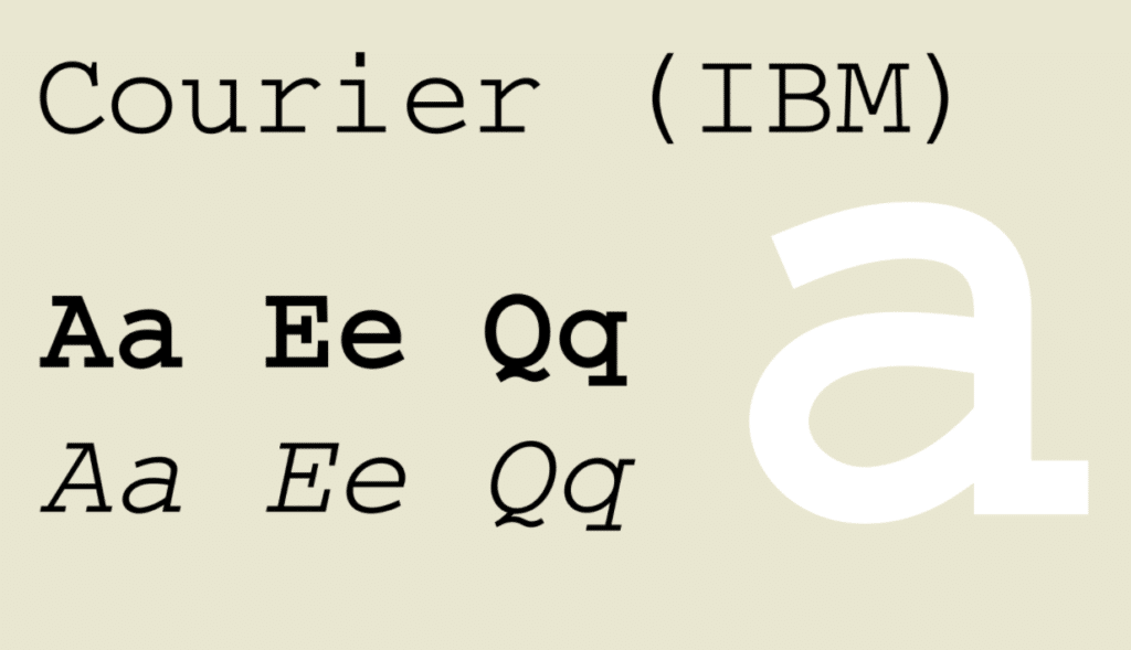 example of the courier font that our branding agency suggests avoiding