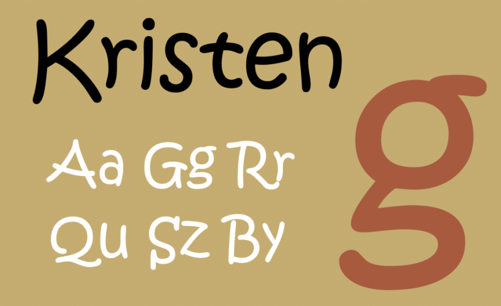 example of the Kristen font that our branding agency suggests avoiding
