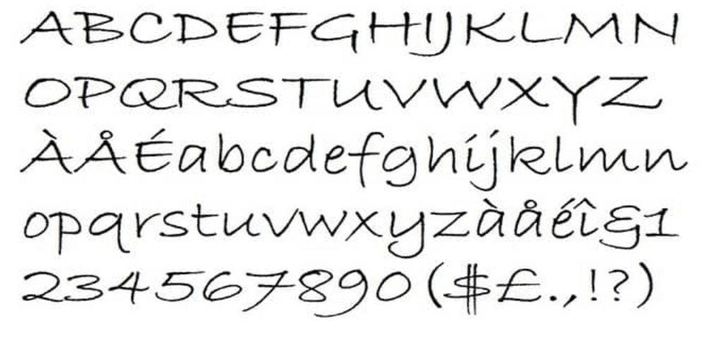 example of the bradley hand font that our branding agency suggests avoiding