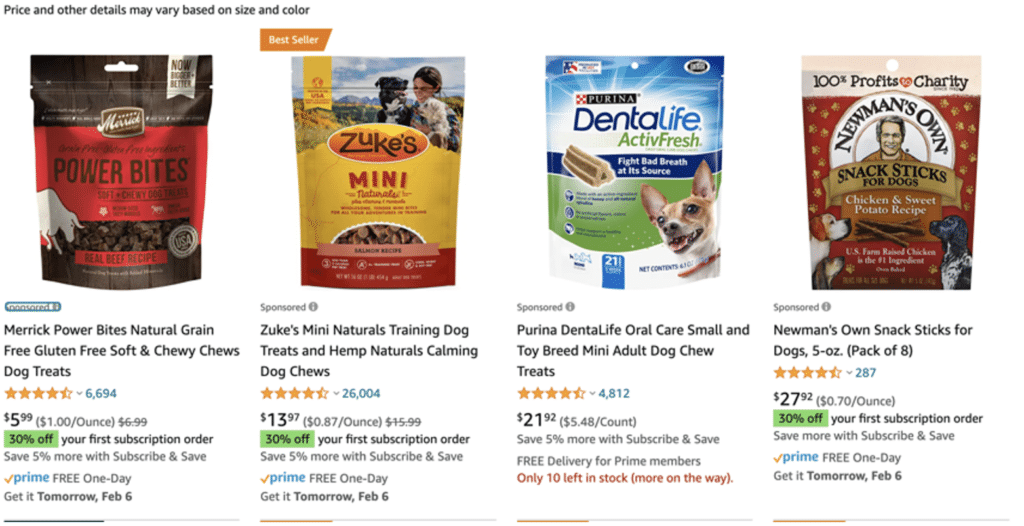 Example of Sponsored Products on Amazon Ads